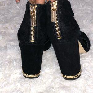 Michael Kors Sabrina suede open toe pump